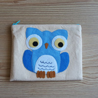 Blue OWL Zip Purse, Makeup Bag, Coin Purse, Small Accessory Pouch FREE SHİPPİNG