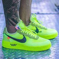 OW x Nike Air Force 1 Low Sneakers Shoes Green