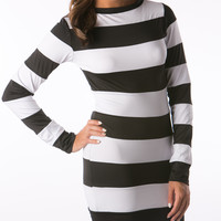 Black and white Stripe club Dresses for woman