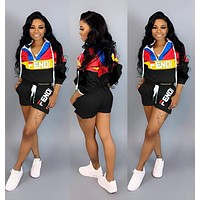 FENDI Summer Fashionable Women Casual Print Top Shorts Set Two-Piece Sportswear Black