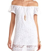 Off-the-Shoulder Lace Shift Dress by Charlotte Russe - Ivory