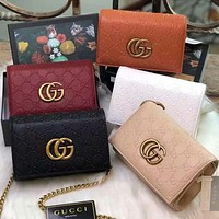 GUCCI classic embossed letters gold buckle ladies retro flap chain messenger bag shoulder bag shopping bag