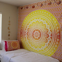 Hippie Trippy Sunset Ombre Mandala Pillow Cover