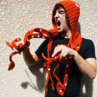 CROCHET PATTERN PDF - Kraken Of The Sea Scoofie - Mythological Creature Hooded Scarf Couture