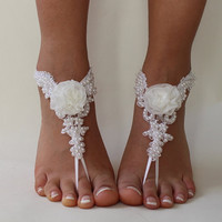 White Lace Barefoot Sandals, Wedding Anklet,NudeShoes, Foot Jewelry,Beach WeddingBarefoot Sandals ,Bridal Anklet Bridesmaid Anklet