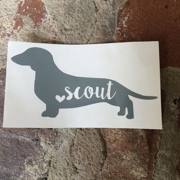 Personalized Dachshund Name Decal   Yeti Decal   Mac Book Decal   Car Decal