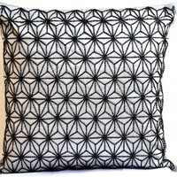 Amore Beaute Handcrafted Grey throw pillows with detailed hand embroidered hemp leaf pattern- 16x16 pillows- Decorative throw pillow covers with Sashiko embroidery- Couch pillows- Sofa pillows in art silk dupioni- An exquisite gift