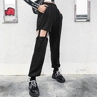 Women Solid Color Personality Hollow Leisure Pants Trousers Sweatpants