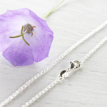 16 inch Fine 925 Sterling Silver Chain Necklace. Thin Link Chain Tiny Cable Oval. Finished Necklace for Pendant. Ready to Wear