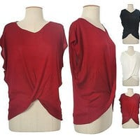 Woman V Scoop Neck Twisted Front Wrap Dolman Cap Sleeve Shirt Knit Top Loose Fit