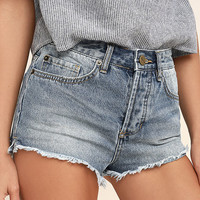 Amuse Society Easton Light Wash Distressed Denim Shorts