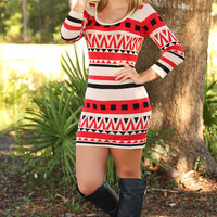 Trendy In Tribal Dress: Red/Black