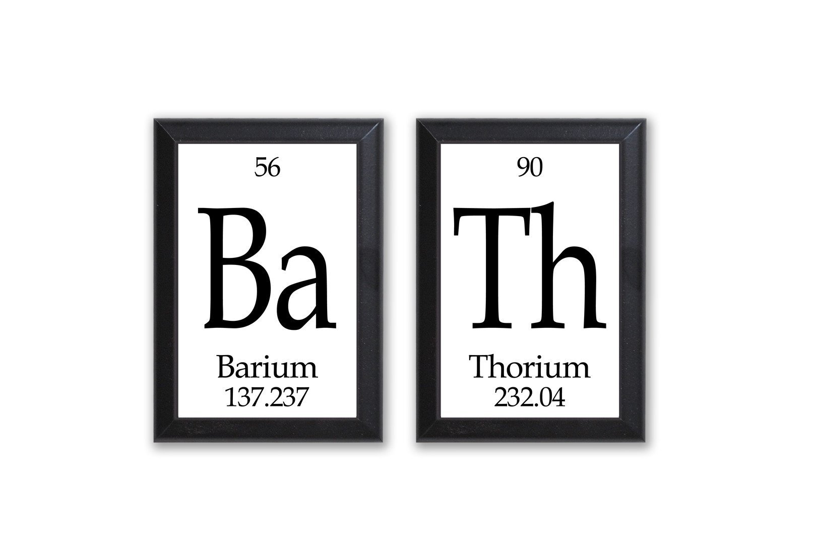 Image of Bath Periodic Table Framed 2 Piece Wall Plaque Set - Geeky Home Decor