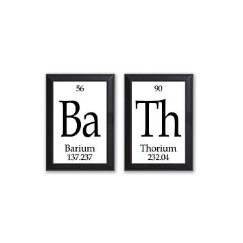 Bath Periodic Table Framed 2 Piece Wall Plaque Set - Geeky Home Decor