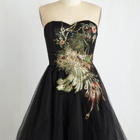 Vintage Inspired Long Strapless Ballerina Perfect Poise Dress in Peacock