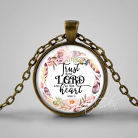 trust in the lord with all your heart - bible verse pendant necklace Proverbs 3:5 - Jesus Christ Christianity gift bible gift Christmas gift