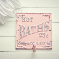 Bathroom Sign / Bathroom Decor / Metal Bath Sign / Customize Color/ Pink / Towel Hook / Bath Hook