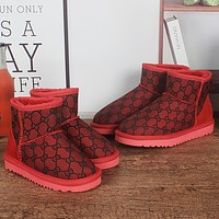 UGG x GG hot sale mid-tube snow boots full print pattern plush hand-stitched non-slip plush boots fashion ladies snow boots