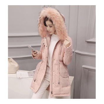 Hooded Middle Long Racoon Down Coat Woman Slim Warm   pink   S