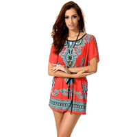Print Plus Size Shaped Batwing Sleeve One Piece Dress [4918255556]
