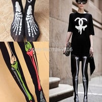 New Hot Fashion Sexy Womens Punk Skull Skeletons Leggings Tights X-Ray Bone Halloween Costume Party High Quality Free Shipping