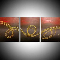 "View: triptych 3 panel wall art colorful metallic gold images "" Gold Horizon "" effect 3 panel canvas wall abstract modern canvas pop abstraction 48 x 20 "" other sizes available 