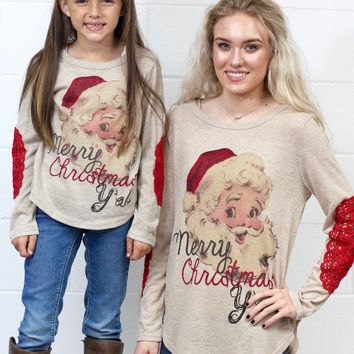 Merry Christmas Y'all Vintage Santa + Lace Elbows {Tan} KIDS + ADULTS