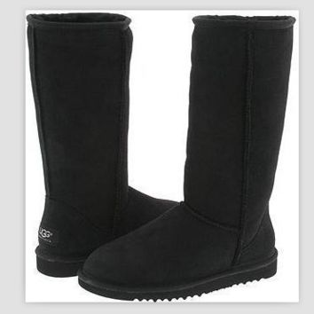 """""""UGG"""" Women Fashion Wool Snow Boots simple high boots Black"""