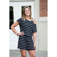 Slouchy Shoulder Striped Romper