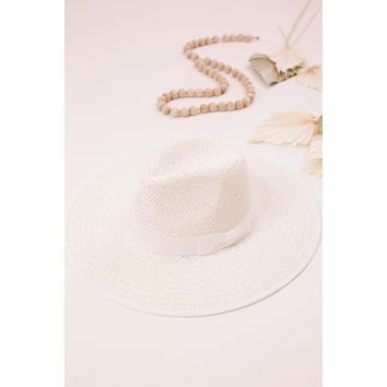 Emma Straw Panama Hat, White