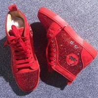 DCCK Cl Christian Louboutin Rhinestone Style #1965 Sneakers Fashion Shoes