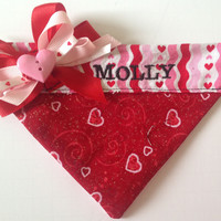 Hearts & Stripes Embroidered Valentines Day Bandana for Dogs and Cats