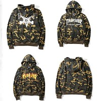 Thrasher Skateboard Hoodie Men Women Camouflage Flame High Quality 1:1 Cotton Pullover Brand Clothing Hip Hop Hooded Sweatshirts
