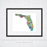 Florida Love - FL Canvas Paper Print:  Grunge, Watercolor, Rustic, Whimsical, Colorful, Digital, Silhouette, Heart, State, United States