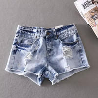 Rinsed Denim Ripped Holes Denim Shorts Slim Pants Summer Jeans [6050444673]