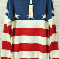 Retro Striped Star Flag Round Neck Sweater For Women