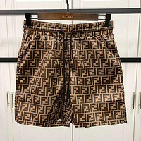 FENDI new FF letter jacquard shorts fashion men and women casual beach pants