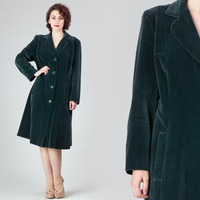 70s Dark Green Velvet Coat / Masculine Straight Fit Bottle Green Coat / Velvet Party Cocktail Midi Large L Extra Large Coat