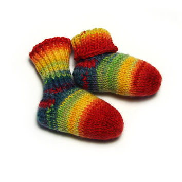 Baby socks, rainbow striped newborn socks, stay-on socks, red yellow green and blue, thin wool baby booties, handknit