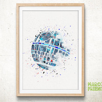 Death Star, Star Wars - Watercolor, Art Print, Home Wall decor, Watercolor Print, Death Vader Poster