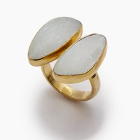 Naenia Selenite Stone Ring - Gold