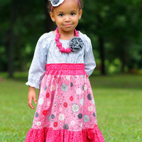 Perfect Pink Girls Maxi Outfit, Little Girls Dresses, Long Dress, Girls Long Maxi Skirt, Girls Peasant Top, Pink Dress, Toddler Dress