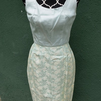 Vintage Early 1960s Dress with Satin brocade bottom - sea green, light blue, vintage formal wear, ladies evening wear, costuming