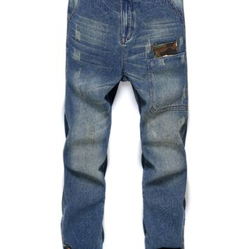 Zipper Fly Narrow Feet Distressed Jeans