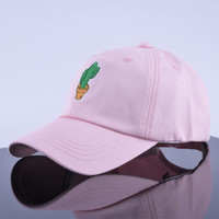 Cactus Embroidered Curved Brim Baseball Cap Pink Dad Hat
