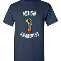 Autism Awareness T-shirt Autistic Tshirt Tee Shirt Funny Captain Autism Support Puzzle Piece Spectrum Fist Child Parent Awareness