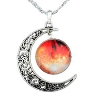 Yantu Orange Women's Crescent Moon Galactic Universe Cabochon Pendant Necklace Christmas Gift