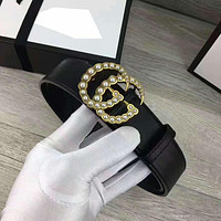 GUCCI Fashion Contracted Smooth Buckle Belt Leather Belt G-A-GFPDPF