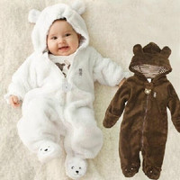 [S.Y.C] Newborn Coral Fleece Long Sleeve Hooded Romper, Baby Girls Boys Jumpsuit Autumn&winter Newborn Toddle Clothing = 1932128324