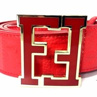 Fendi Belt FF Zucca Red Strap Red Buckle Fashion Designer Men's 38